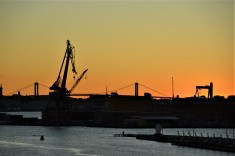 Sunset over Gothenburg harbour
