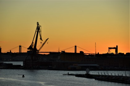 Sunset over Gothenburg harbour